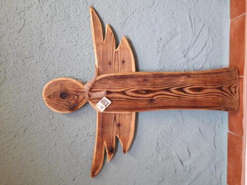 A1, dřevěný závěsný anděl ze starého dřeva, interiér, exteriér, ošetřený olejem, d - rozpětí křídel 89 cm, v - 98 cm - 850