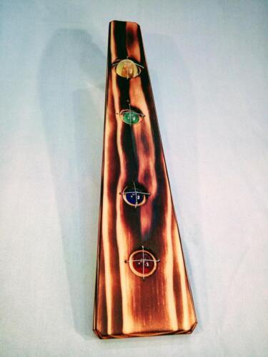 A16, dekorace, zahrada, byt, modřín, opálené dřevo, jablonecké sklo,závěsný řetízek, d- 12 cm, v - 55 cm - 550 Kč