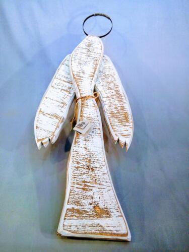 A4, závěsný anděl bílý, staré opracované dřevo, kovová hlava, měděný opasek, d - 35 cm, v - 92 cm - 850 Kč