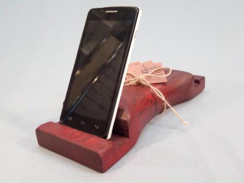 M1, dřevěný stojan na dva mobilní telefony - smrk - červený  - 250 Kč